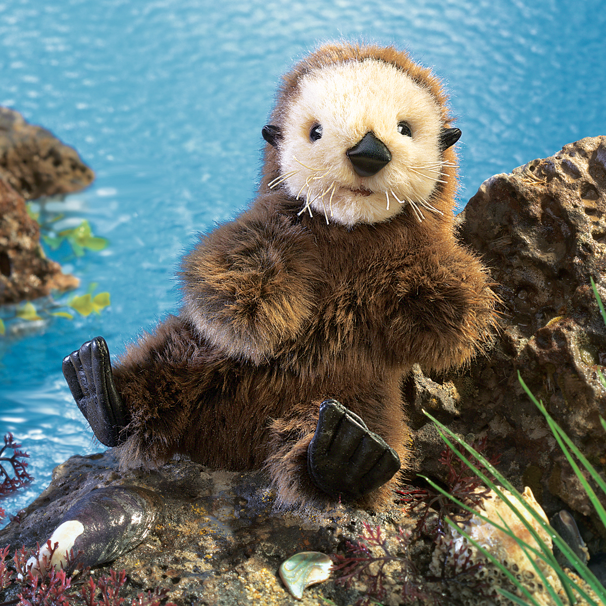baby sea otter puppet by folkmanis