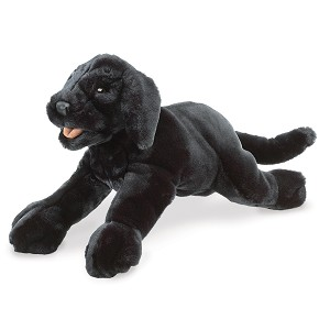 Black Labrador Puppy Dog Hand Puppet by Folkmanis Puppets