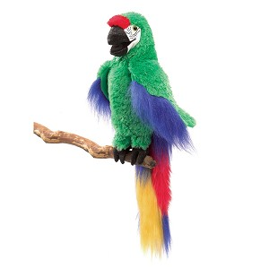Green Macaw Bird Hand Puppet by Folkmanis Puppets